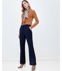 motivi pantaloni formali flare donna blu
