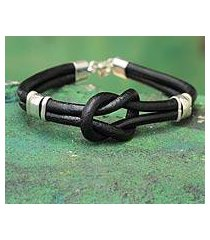 leather wristband bracelet, 'twin black knots' (peru)