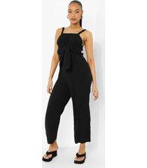 katoenen culotte jumpsuit met textuur en strik, black