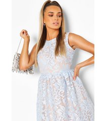 boutique embroidered skater bridesmaid dress, pastel blue