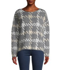 central park west women's houndstooth-print sweater - charcoal - size l