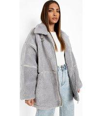 oversized teddy jas met gesp detail, light grey