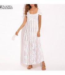 zanzea traje de baño de bikini de ganchillo de encaje de manga corta para mujer vestido largo de camisa de vestir maxi -blanco