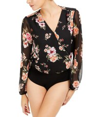 bar iii floral-print chiffon bodysuit, created for macy's