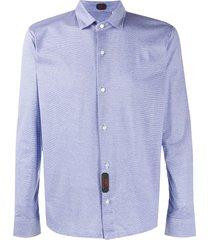 mp massimo piombo horizontal striped longsleeved shirt - blue