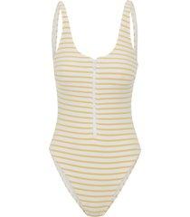 maiô stripe classic zip - off white