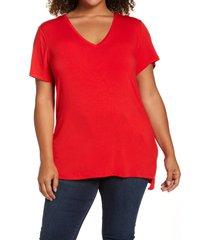 plus size women's halogen v-neck t-shirt, size 1x - red