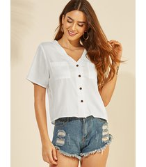 yoins white front button v-neck short sleeves tee
