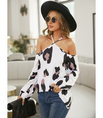 yoins blusa blanca de manga larga con cuello halter de leopardo