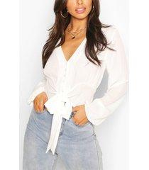 geweven blouse met knopen en strik, ivoor