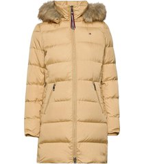 cl baffle down coat with fur gevoerde lange jas geel tommy hilfiger