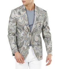 tallia men's slim-fit grey & tan paisley cotton blazer