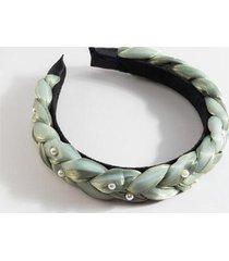mona organza braided puffy headband - olive