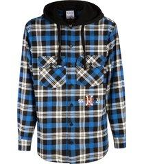 marcelo burlon monogram check hoodie shirt