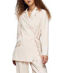 women's topshop self stripe jacquard blazer, size 10 us (fits like 10-12) - beige