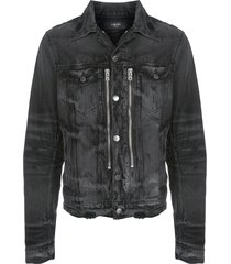 amiri bandana mx2 distressed denim jacket - black