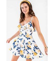 ashlyn flounce floral dress - white