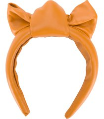 redvalentino red(v) bow-detail leather headband - brown