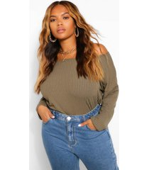 plus off the shoulder knitted sweater, khaki