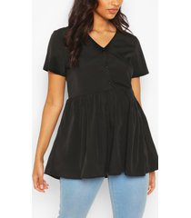 maternity button front woven smock top, black