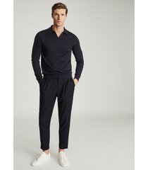 reiss milburn - merino wool open collar polo shirt in navy, mens, size xxl