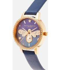 olivia burton women's sparkle bee mop midi dial watch - navy & gold