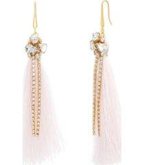 catherine malandrino women's white rhinestone yellow gold-tone pink tassel earrings