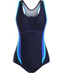 cutout back colorblock stitching one-piece swimsuit