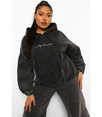 plus woman geborduurde denim hoodie, washed black