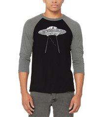 men's flying saucer ufo raglan baseball word art t-shirt
