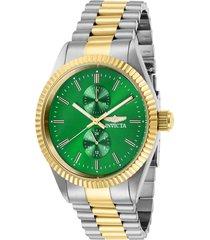 reloj invicta acero dorado modelo 294ac para hombres, colección specialty