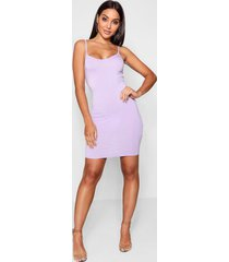 basic strappy cami bodycon dress, lilac