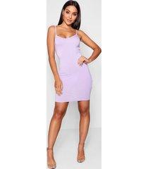 basic strappy cami bodycon dress, lilac