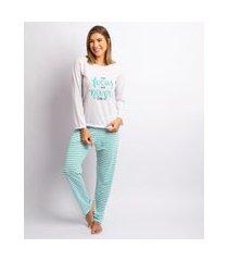 pijama feminino poliester manga longa branco