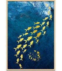 quadro 67x50cm urak oh5 peixe dourado decorativo moldura natural com vidro