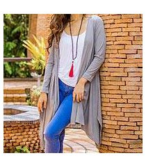 cotton and linen blend cardigan, 'chiang mai mist in grey' (thailand)