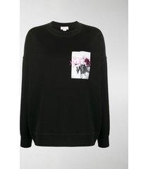 alexander mcqueen oversized rose-print sweatshirt