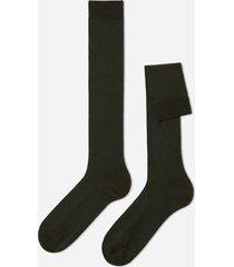 calzedonia tall stretch cotton socks man green size 44-45