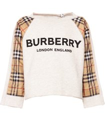 burberry logo check print sweatshirt