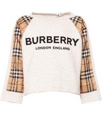 burberry logo check print sweatshirt