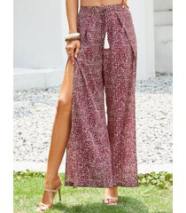 yoins pantalones burdeos con perneras anchas y dobladillo con aberturas