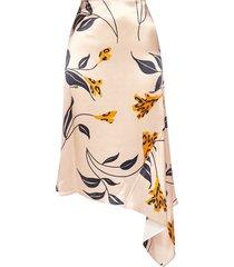 marni floral print asymmetric satin skirt