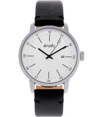 simplify quartz the 2500 silver dial, genuine black leather watch 42mm