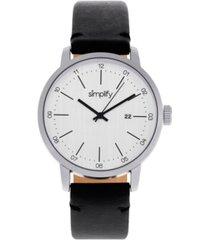 simplify quartz the 2500 silver dial, genuine black leather watch 42mm