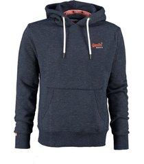superdry blauwe sweater hoodie valt ruim