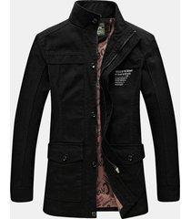 giacca a maniche lunghe in cotone tinta unita per uomo casual antivento invernale