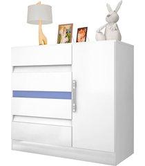 comoda 01 porta 04 gavetas araplac móveis flex branco/rosa/lilás/azul