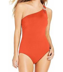 michael kors one piece sz 10 hot coral swimsuit one shoulder maillot mm15831