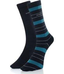 hugo boss double pack navy stripe socks 50319261