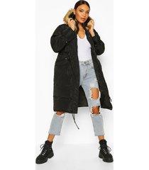 oversized faux fur trim parka, black